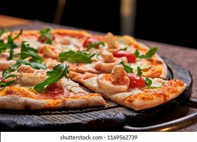 appetizing pizza on dressing