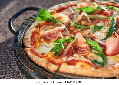 appetizing pizza on dressing