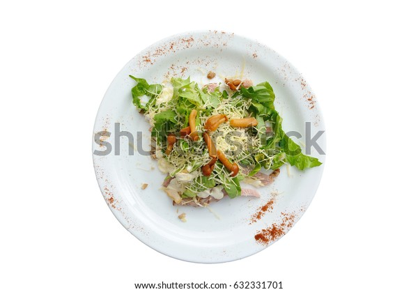 Appetizing salad with meat, grated cheese and mushrooms