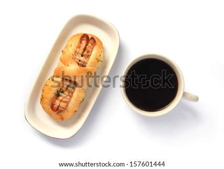Appetizing sausage bread and cup of coffee  isolated on a white background
