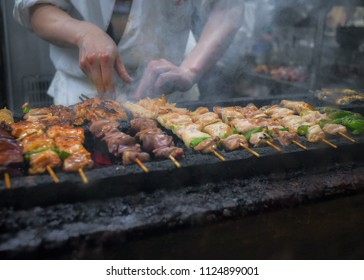 Appetizing Yakitori, Grilled chicken skewers in Tokyo, Japan.