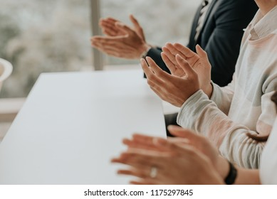 Applause, congratulated the success of the organization. Ovation successful businessman. The idea was to share the success of teamwork. .The organization of conferences, seminars,  brainstorming.