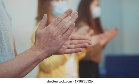 applause. crowd of people clap their hands. pandemic coronavirus stay home concept. people clapping applause in gratitude to doctors and medicine. applause claps close-up solidarity