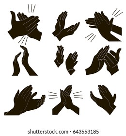 Applause set clapping hands icon set