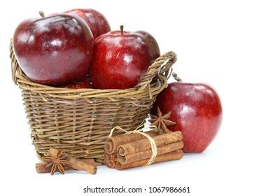 Apple basket on white background