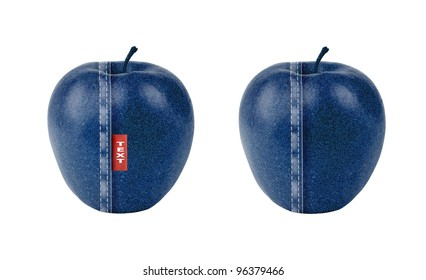 Apple with blue jeans texture isolated on white. Apple with a twist.