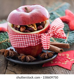 apple with bow and filling