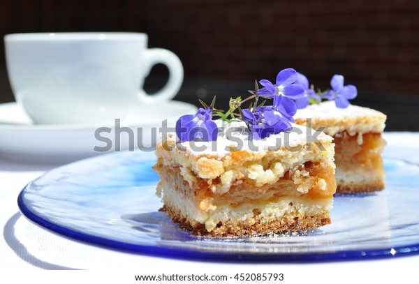 Apple cake with blue flowers and plate. White cup, dark background.