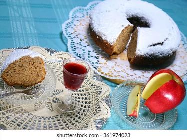 apple cake with homemade  liquor for a treat 2