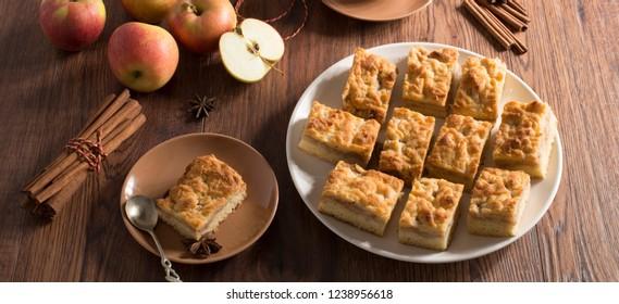 Apple cake on a plate