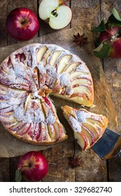 apple cake on rustic background, top view