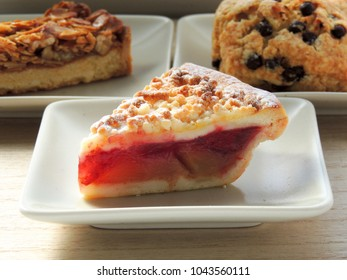 Apple and cherry crumble pie