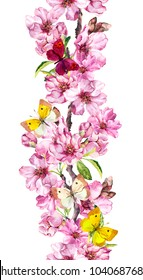Apple or cherry pink flowers and spring butterflies. Seamless floral stripe frame. Botanical watercolour painted border
