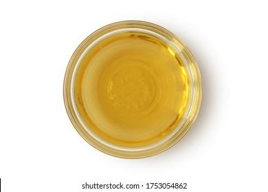Apple cider vinegar in glass bowl on white background