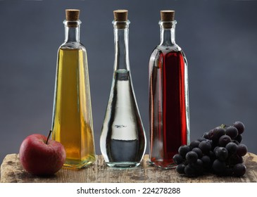 Apple cider vinegar, grapes vinegar and ordinary vinegar