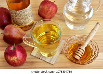 Apple cider vinegar with honey and water, digestive tonic.