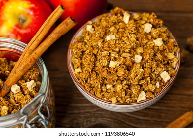 Apple Cinnamon Granola for Breakfast. Selective focus.