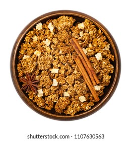 Apple Cinnamon Granola Isolated on a White Background. Selective focus.