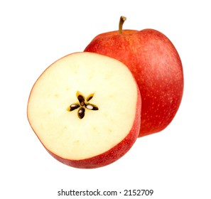 apple closeup on white background with path