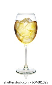 Apple cocktail with a sparkling wine with ice cubes in wine glass isolated on white