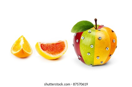 An Apple composed by several fruits attached by bolts and some fruit slices