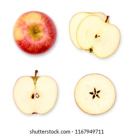 Apple composition or arrangement of whole and cut apples. Top view, cross section of red apples.