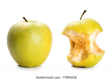 an apple and an apple core in front of white background