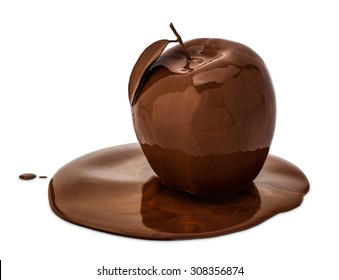 An apple covered with melted chocolate, isolated on white.