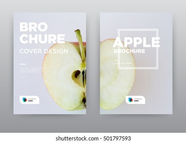 Apple cut inside fruit fresh on white background annual report journal magazine banner poster brochure flyer design template, Leaflet cover presentation abstract flat, layout in A4 size