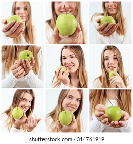 An apple a day or a Beautiful girl with apple, Healthy eating, Diet, Vitamin, Healthy breakfast, Healthy lifestyle, Healthy skin, Healthy woman, Fresh food, Be happy, Temptation, Good idea, Take care