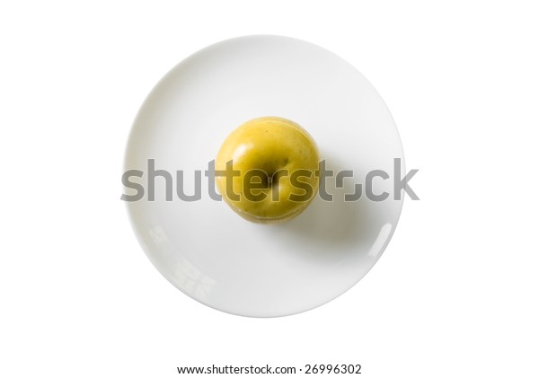 Apple dessert at plate isolated on white