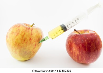 An apple dying and a healthy one.
