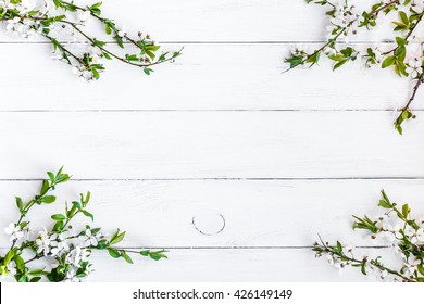 Apple flowers on white wooden background. Flat lay, top view