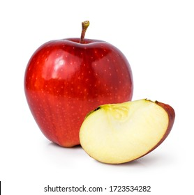 apple fruit with cut piece isolated on white background