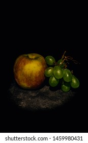 Apple and Grapes in high definition, black background, Caravaggio style