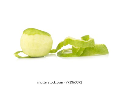 apple green peel isolated on white background.