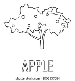 Apple icon. Outline illustration of apple  icon for web