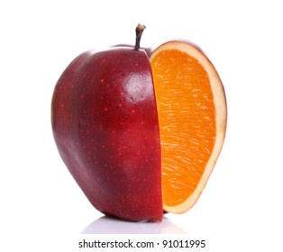 Apple with inside orange texture on white.