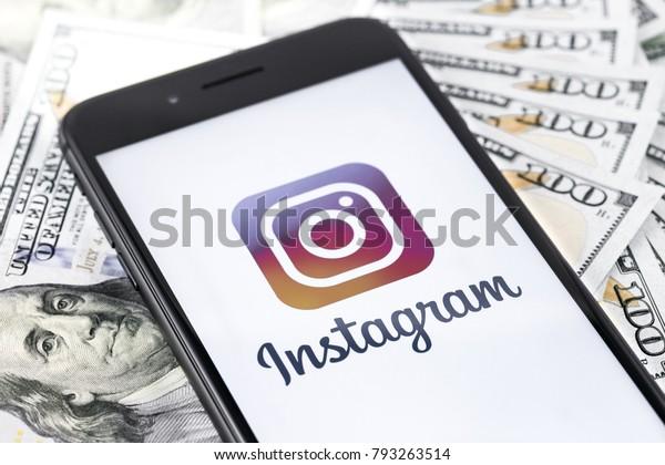 Apple Iphone 8 Instagram Logo Money Stock Photo (Edit Now