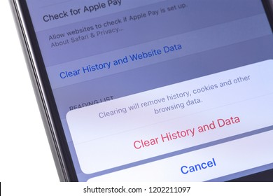 Apple iPhone with browser Safari remove history, cookies and other browsing data. Apple Inc. is an American multinational technology company in Cupertino, California. Moscow, Russia - October 14, 2018