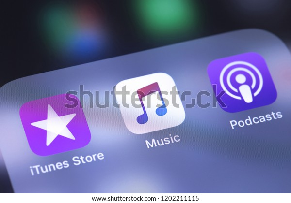 Apple Iphone Itunes Music Podcasts Icons Stock Photo (Edit Now