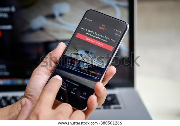 Apple Iphone Netflix Application On Screen Stock Photo (Edit