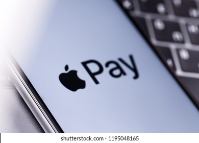 Apple iPhone with Apple Pay logo on the keyboard. Russia - October 04, 2018