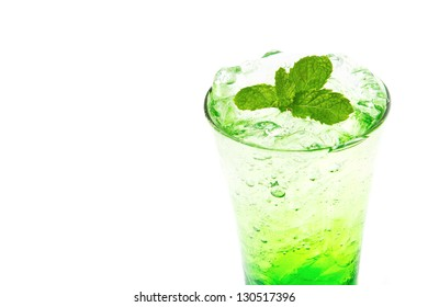 Apple italian Soda with mint leaf on white background