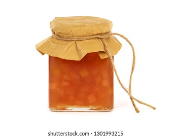 Apple jam in a glass jar isolated on white background