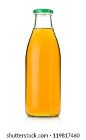 Apple juice in a glass bottle. Isolated on white background
