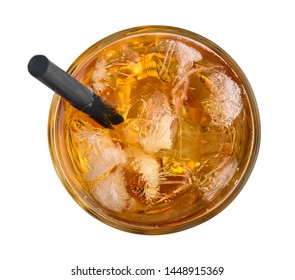 Apple juice with ice and drinking straw isolated on white background, top view