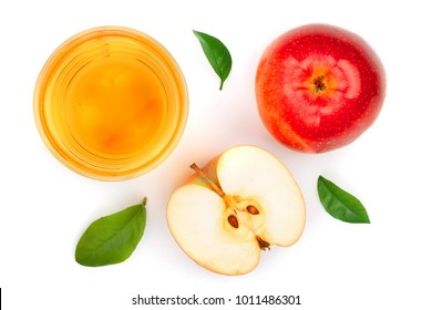apple with juice and leaves isolated on white background top view. Flat lay pattern