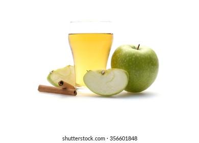 Apple juice on white background