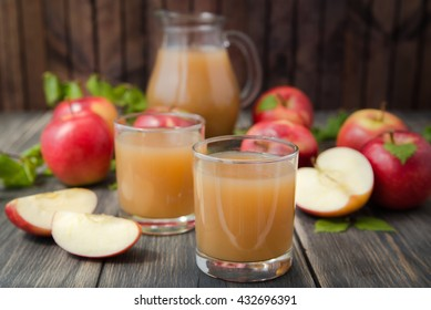 apple juice on wooden table close up